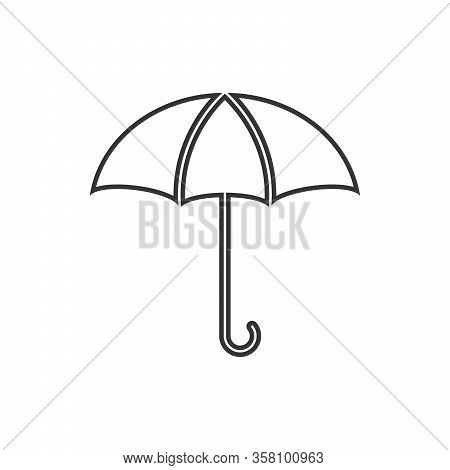Umbrella Icon - Vector. Black Umbrella Icon In Flat Style. Umbrella Icon Isolated.