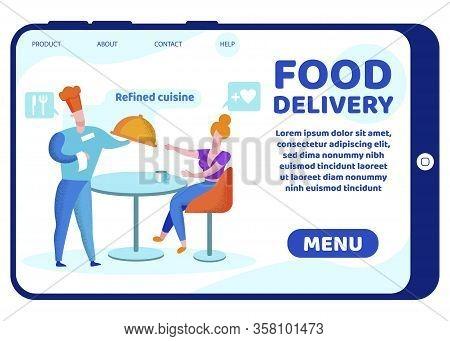 Informative Banner Inscription Food Delivery. Written On Smartphone Screen Refined Cuisine. Girl Dri