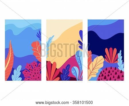 Set Of Social Media Stories Design Templates. Background With Undersea Marine Life. Underwater Parad