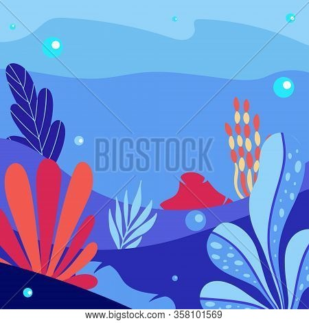Abstract Sea Underwater Background With Copy Space For Text. Merine Ocean Life. Vector Illustration