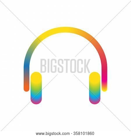 Color Headphones Icon Isolated. Abstract Headphones Icon - Vector. Abstract Headphones Symbol. Color