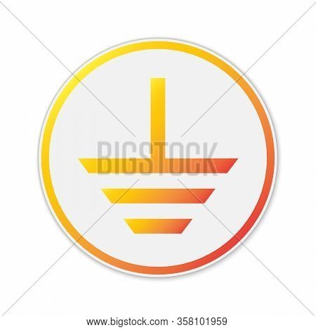Vector Grounding Icon. Paper Sticker Isolated. Symbol Of Electrical Grounding Isolated.