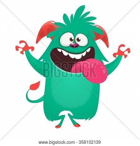 Silly Cartoon Green Monster Character Showing Tongue