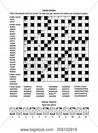 Puzzle Page With Two Puzzles: 19x19 Criss-cross (fill-in) Crossword Word Game (english Language) And