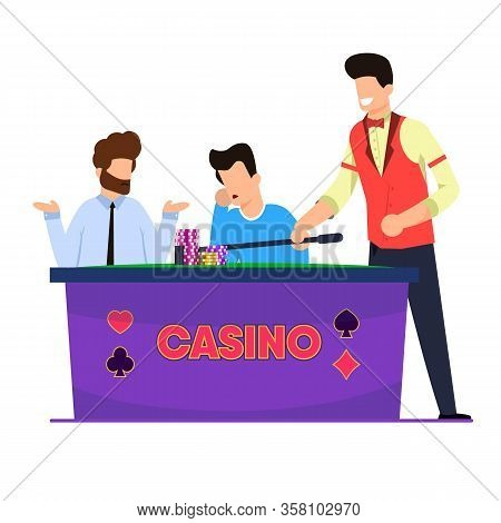 Flat Casino Roulette Game Vector Illustration. Men Play And Lose Roulette. Casino Employee Picks Up