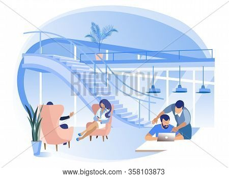 People Talk And Work On First Floor Of Coworking Center. Coworking Center. Vector Illustration. Work