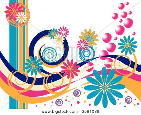 Pink Flowers and Bubbles are Featured in an Abstract Vector Illustration. poster