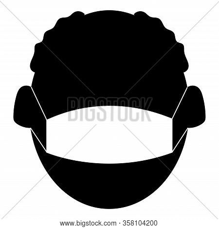 Senior Citizens Wearing A Medical Mask Icon. Protection Against Viral Infections And Covid-19 Concep