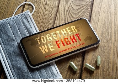Coronavirus Or Covid-19 Fight Together Social Media Campaign Concept , Stay At Home, Social Distanci
