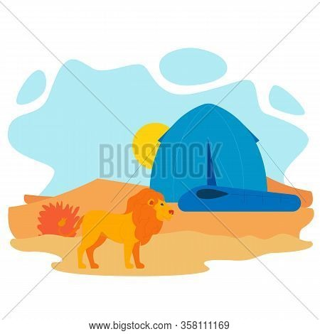 African Lion And Tent Flat Vector Illustration. Dangerous Wild Animal At Tourist Campsite. Africa Ex