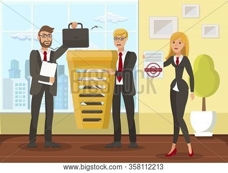Business Liquidation Flat Vector Illustration. Businessmen And Cheerful Inspector Cartoon Characters