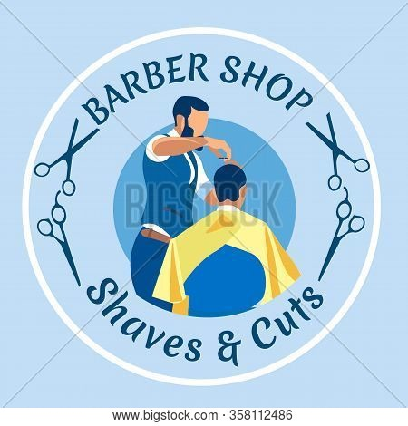 Professional Haircutter Shave And Cut Man, Making Haircut To Customer In Barbershop. Hair Stylist Wo
