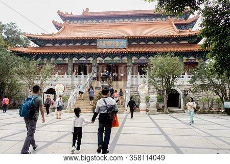 Nongping, Hongkong - 29 March 2019  Closeup Of Po Lin Monastery On 29 March, 2019