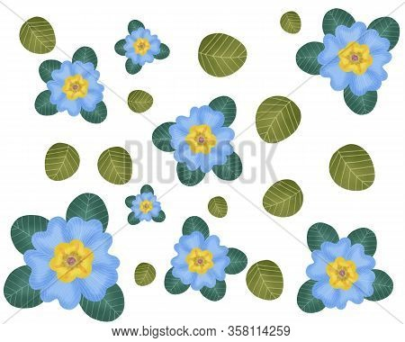 Seamless Of Floral Blue Pattern Backgroung Illustration