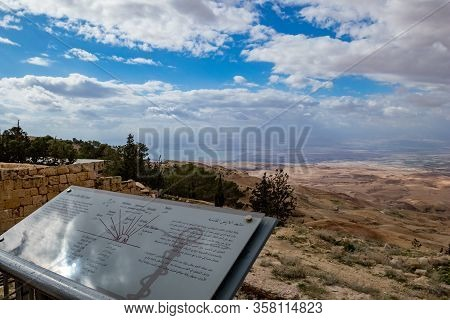 Madaba, Jordan - February 1, 2020: Scenery View, Landscape With Info Plate, Promised Land And Dead S