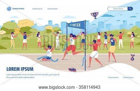 Run City Marathon Banner. Cartoon Man Winner Run First At Finishing Line Ribbon Vector Illustration.