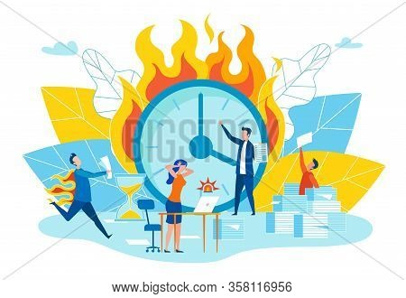 Flat Disruption Deadlines Vector Illustration. Project Is Divided Into Subtasks, Implementation Whic