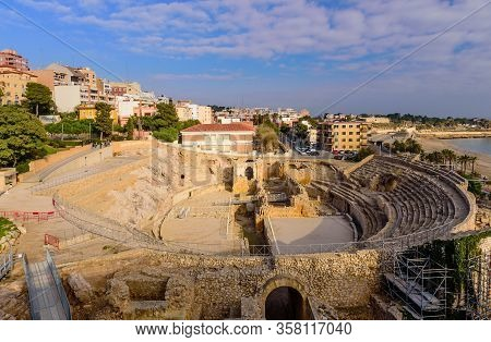 Tarragona, Spain - January 2, 2020: Sightseeing Of Tarragona. Amphitheater In Tarragona, Roman Ruins