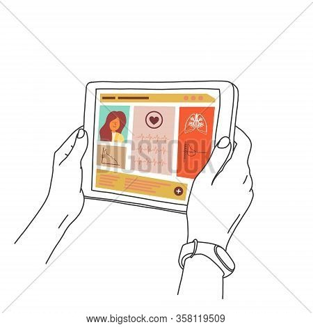 Hands Holding Tablet, On Screen Is Patient Card. Girl Is Looking At Her Tablet On Medical Card. Sync