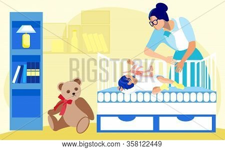 Nursery With Shelving, Night Lamp And Soft Teddy Bear. Baby Girl Or Boy, Sleeping Soundly With Pacif