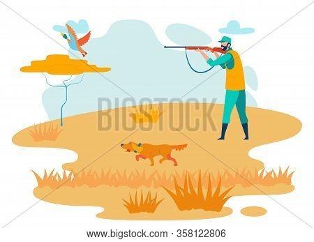 Man Hunting In Steppe Cartoon Vector Character. Hunter Shooting Wild Duck, Dog Running Flat Illustra