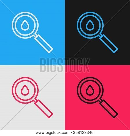 Pop Art Line Oil Drop Icon Isolated On Color Background. Geological Exploration, Geology Research. V