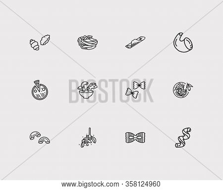 Traditional Meal Icons Set. Garganelli Pasta Shape And Traditional Meal Icons With Fiocchi Rigatte P