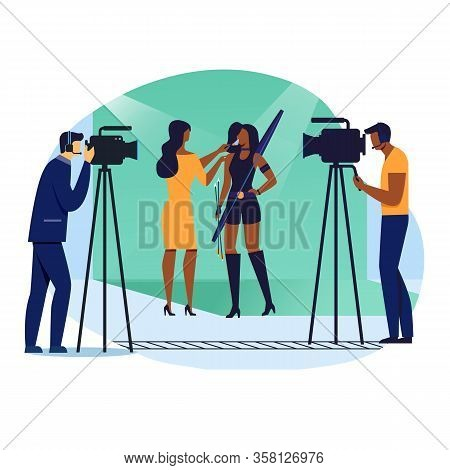 Scene Recording Preparation Vector Illustration. Actress, Assistant Artist And Cameramen Cartoon Cha