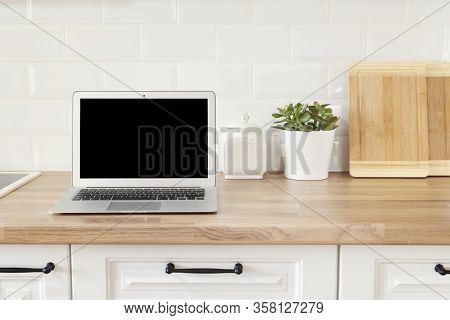 Home Office. Working From Home. Modern Computer, Laptop With Blank Screen. Bright And Clean Modern M