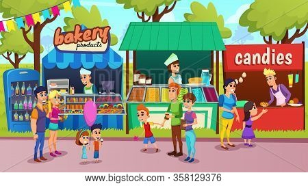 Street Food Festival, Outdoor Food Court With Female, Male Sellers In Bakery Products Shop, Ice-crea