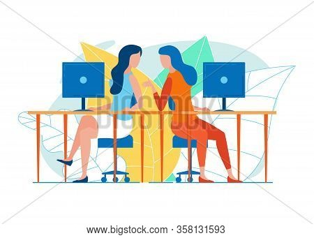 Two Women, Office Colleagues, Taking Advantage Of Small Break, Sitting On Swivel Chairs At Neighbori