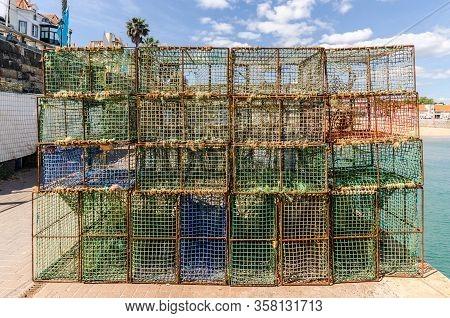 Old Fishing Equipment In Cascais Port Near Lisbon