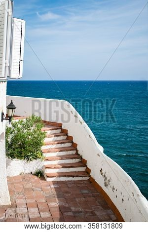 Apparatment Stairs With The Sea On The Background, Punta Gaviota, Sitges, Spain