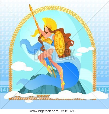 Warlike Goddess Athena In Golden Armor On Top Of Olympus Mountain With Clouds In Sky. Deity Of Victo