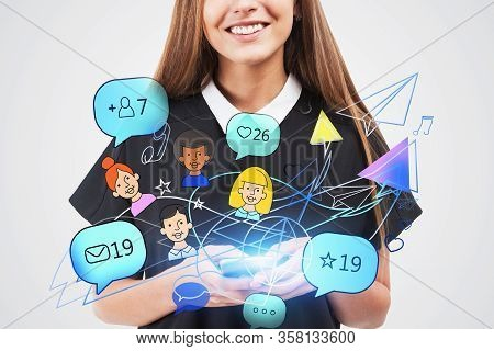 Unrecognizable Smiling Businesswoman In Black Dress Holding Smartphone With Double Exposure Of Creat
