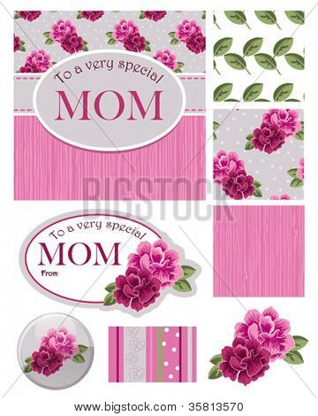 Floral Vector Greeting Card and Gift Tag and Seamless Patterns.  Use to create your own Mother's Day Cards or digital paper for scrap booking.