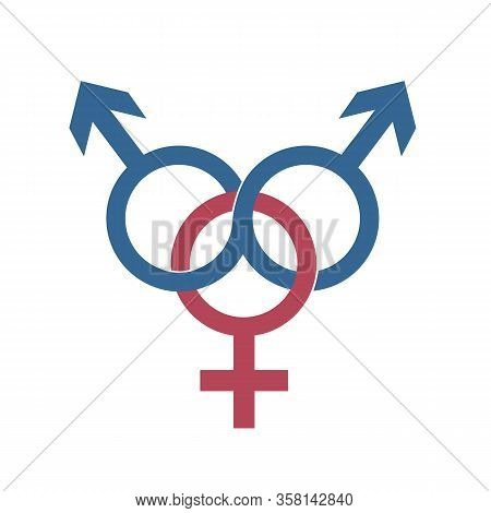 Cheat Partner Relationship And Fraud Two Male And One Female Symbol Vector Illustration Eps10