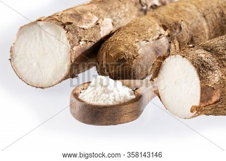 Raw Cassava Starch - Manihot Esculenta. White Background