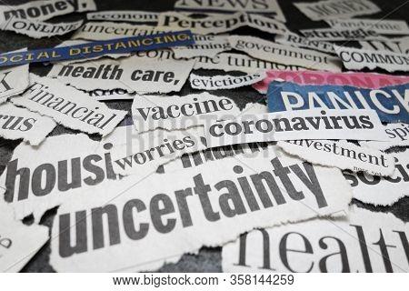 Corona Virus And Economy Related Newspaper Headlines