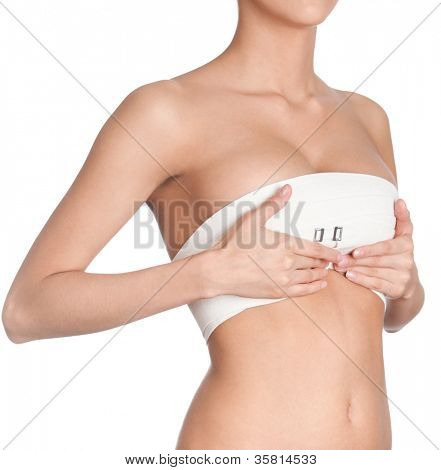 Breast correction, isolated, white background