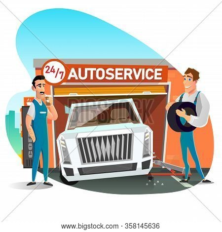 Skilled Auto Mechanic Male Team Changing Tires On Wheels Cartoon. Car On Adjustable Jack. Automotive