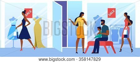 Female Clothing Wholesale Flat Vector Illustration. Fashionable Boutique Customers With Shopping Bag
