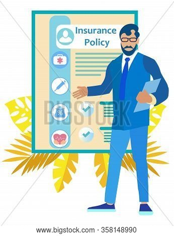 Man In Business Suit And Glasses Shows Hand On Insurance Policy Points. Insurance Policy. Vector Ill