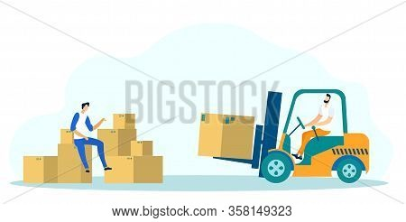 Logistics Flat Cartoon Vector Illustration. Storehouse Worker On Loader Truck Pallet With Parcels An