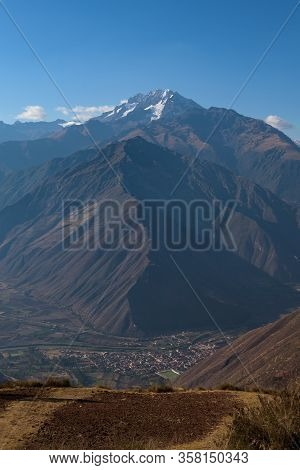 Lush Valleys With In The Background Salkantay Mountain, Seen From The Sacred Valley Near Cusco, Peru