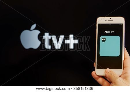 Thessaloniki, Greece - March 21 2020: Apple Streaming Service Vod Content Provider Concept. Hand Hol