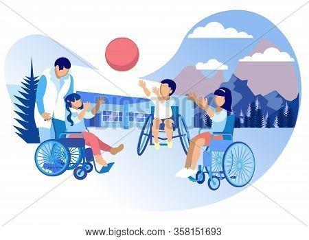 Rehabilitation And Adaptation For Children Cartoon. Rehabilitation Physical, Well As Psychological A