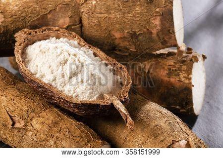 Manihot Esculenta - Raw Cassava Starch. Top View