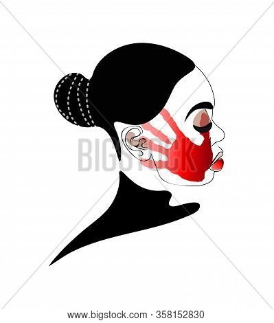 Man Slapping And Abusing Young Woman. Concept. Red Slapping Hand Print On Womans Face. Domestic Viol