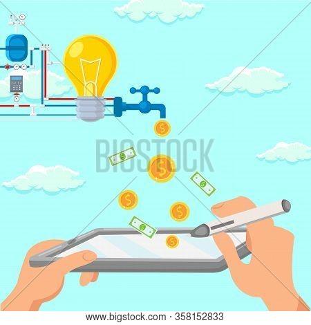 Startup Digital Monetization Scheme Illustration. Business Development, Profit Growth, Internet Trad